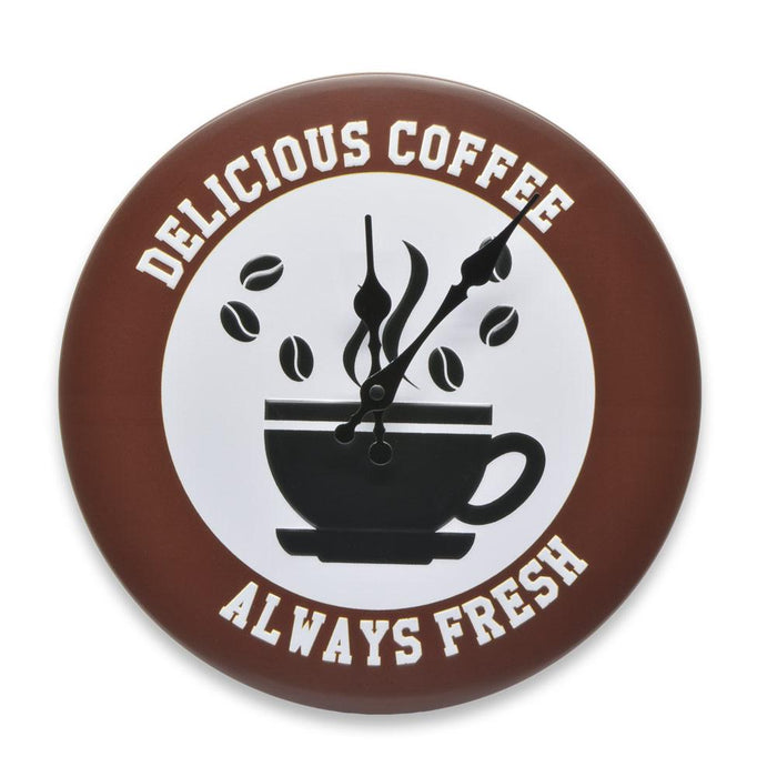 Always Fresh Delicious Coffee Wall Clock Tin Sign Brown Round Image Front