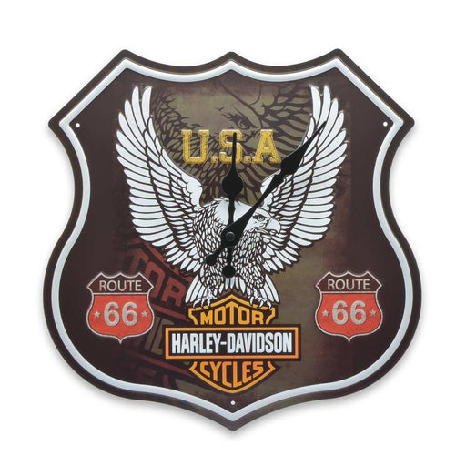 Harley Davidson Wall Clock Tin Sheet Metal Eagle Logo Front