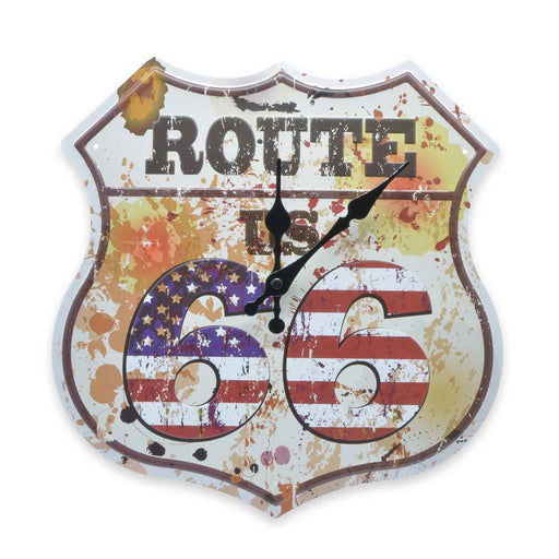 Route 66 Wall Clock United States Flag Tin Sheet Metal Image Front