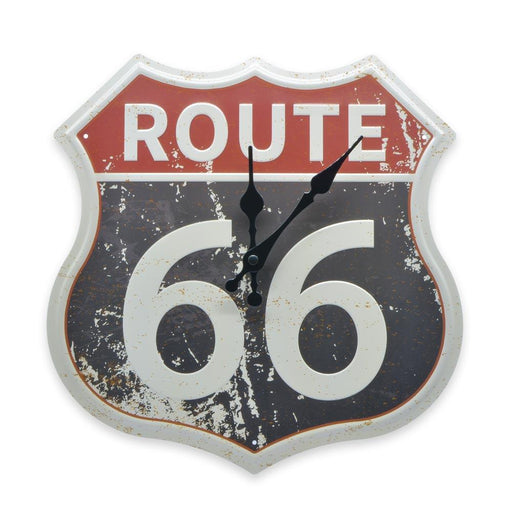 Route 66 Wall Clock Vintage Red Grey Tin Sheet Metal Image Front