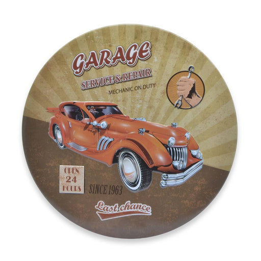 Car Garage Metal Sign Round Classic Hot Rod Image Front
