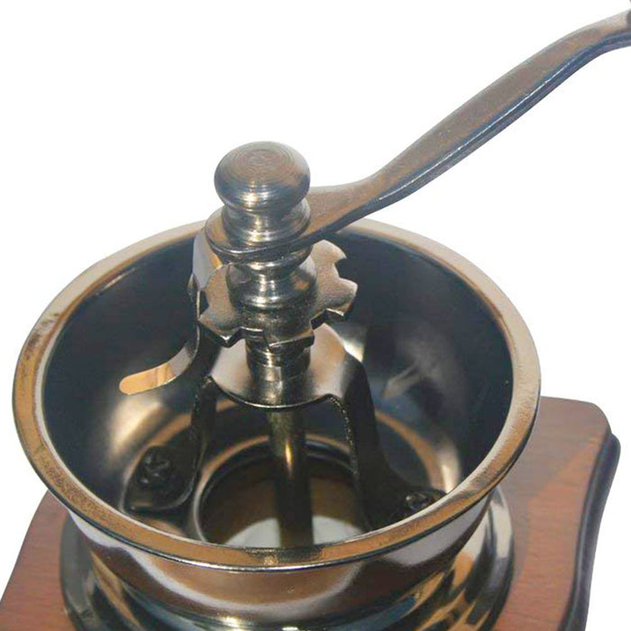 Old Style Manual Coffee Grinder Beans (Dark Wood)