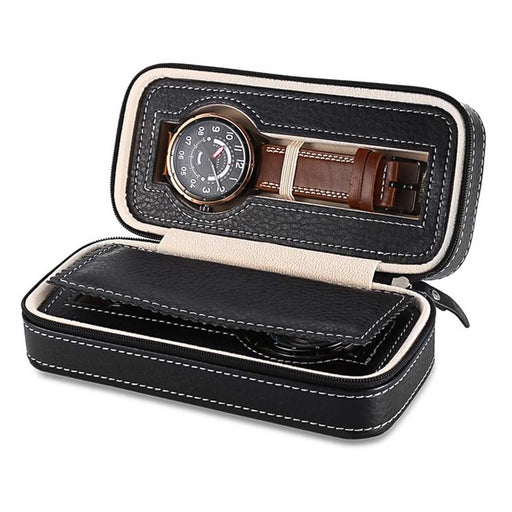 Black 2 Watch Box Travel Case Open Front With Watches