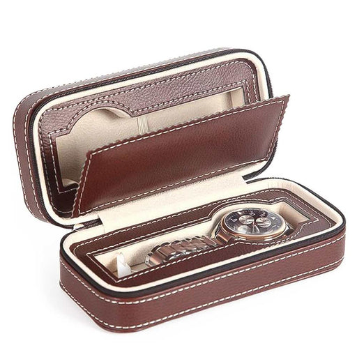 Brown 2 Watch Box Travel Case Front Open With Watches