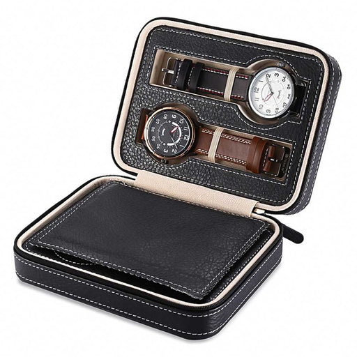 4 Watch Travel Case Storage Box Black With White Stitching Zip Open