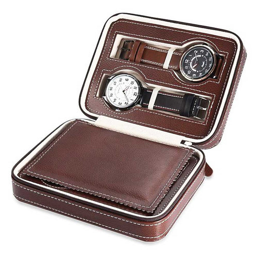 Brown 4 Watch Box Travel Case Top Watches