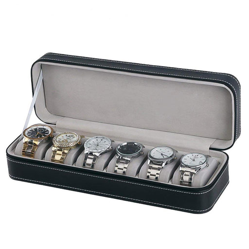 6 Watch Box Travel Case Black With White Stitching Zip Open With Watches Inside