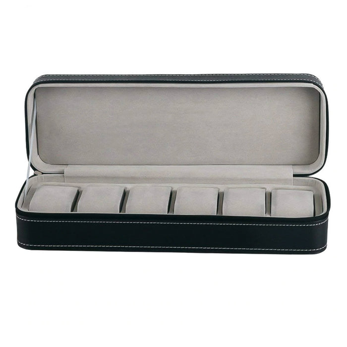 6 Watch Box Travel Case Black With White Stitching Zip Open Front