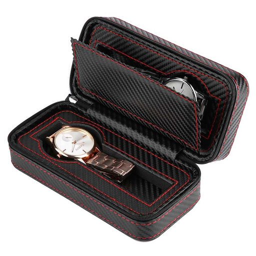 Carbon Fiber Black 2 Watch Box Travel Case Top With Watches
