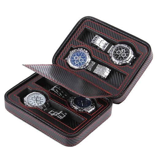 Carbon Fiber Black 4 Watch Box Travel Case Top With Watches