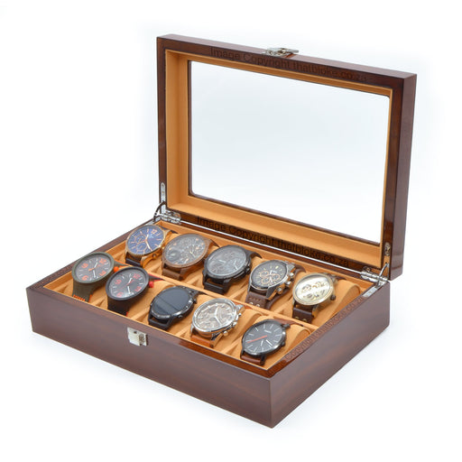 10 Watch Display Case Box Chestnut Brown Wood Laminated Image Front Open