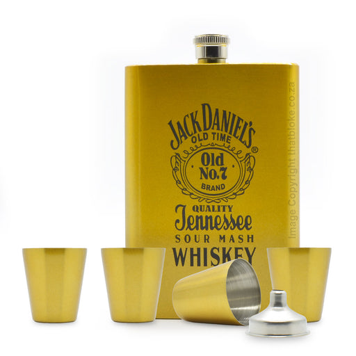 Jack Daniels Hip Flask Set Gold