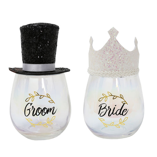 Bride and Groom Wine Glass Set Wearable Top Hat Image Pair