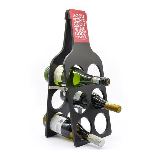 Wood Wine Rack Holder Black Good Friends Good Times With Bottles