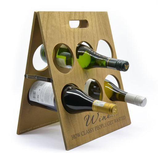 Wood Wine Rack How Classy People Get Wasted Angled View With Wine Bottles