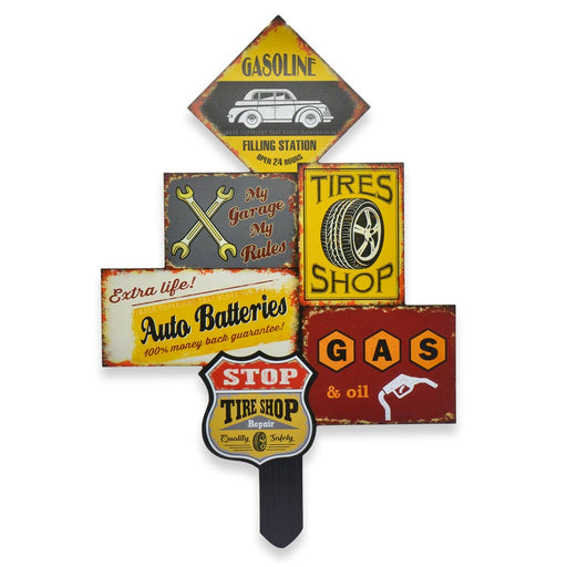 Large Wood Car Sign Filling Station Tires Gas Oil Image Front