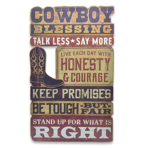 Cowboy Blessing Wood Sign For Man Cave or Bar Area Be Tough But Fair