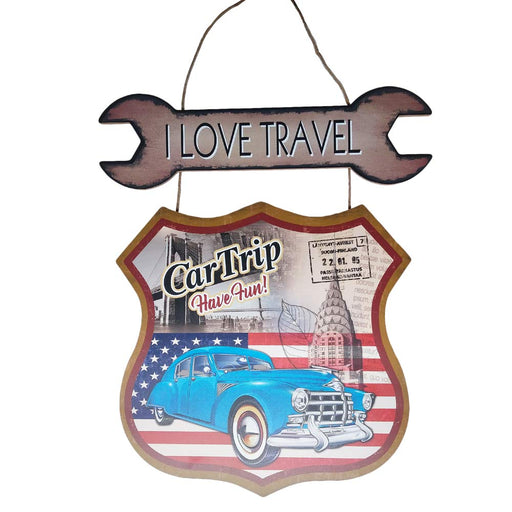 Classic Car I Love Travel Sign Wood American Flag Image Front