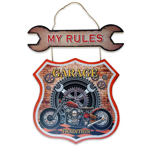 Large Wood My Rules Motorcycle Sign Garage Gears Image Front