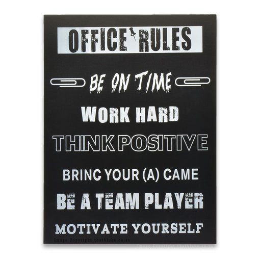 Office Rules Wood Sign Work Hard Think Positive
