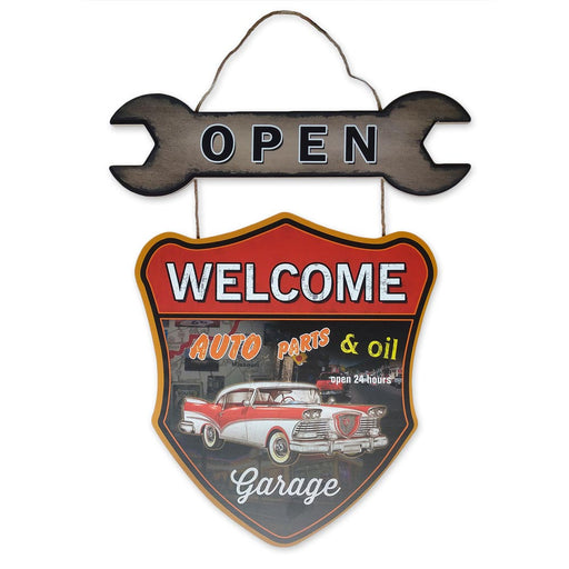 Classic Car Welcome Sign Open Wood Auto Parts And Oil Front