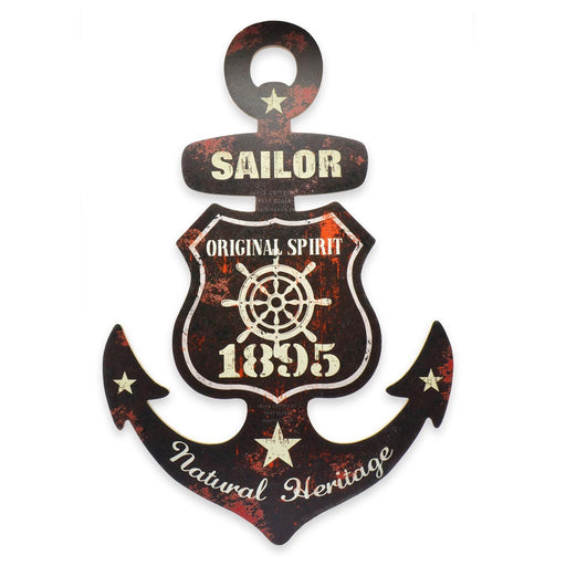 Sailor Wheel Ship Anchor Wood Sign 1895 Black Red Front Image