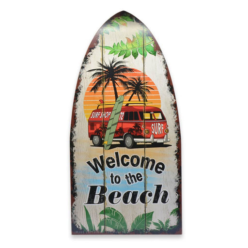 Large Wood Surfing Sign Welcome To The Beach VW Kombi Car Image Front
