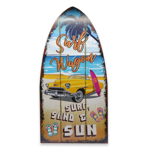 Large Wood Surfing Sign Surf Wagon Classic Car Surf Sand Sun Image Front