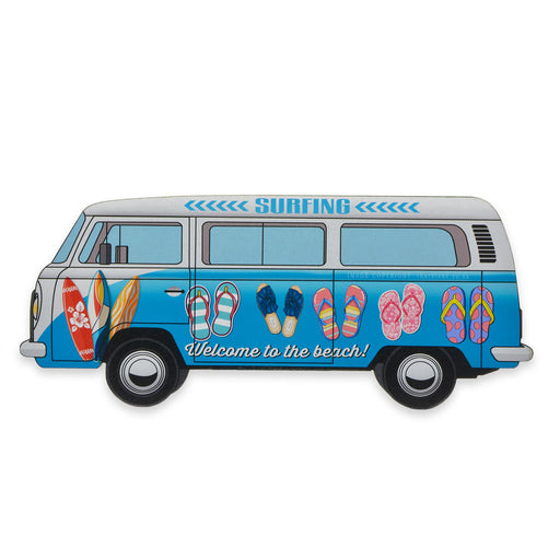 Surfing Welcome To The Beach VW Kombi Wood Sign Blue Image Front