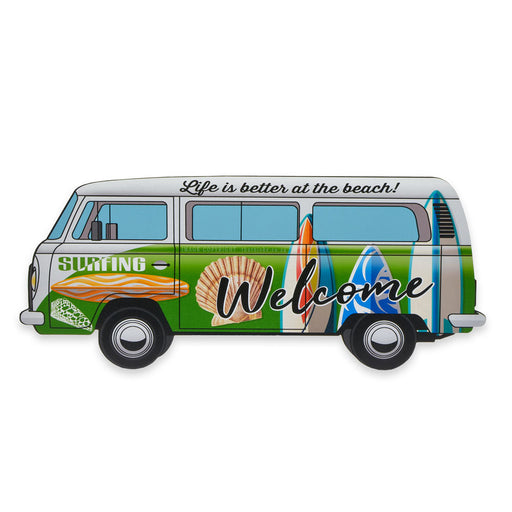 VW Kombi Surfing Life Is Better At The Beach Wood Sign Image Front