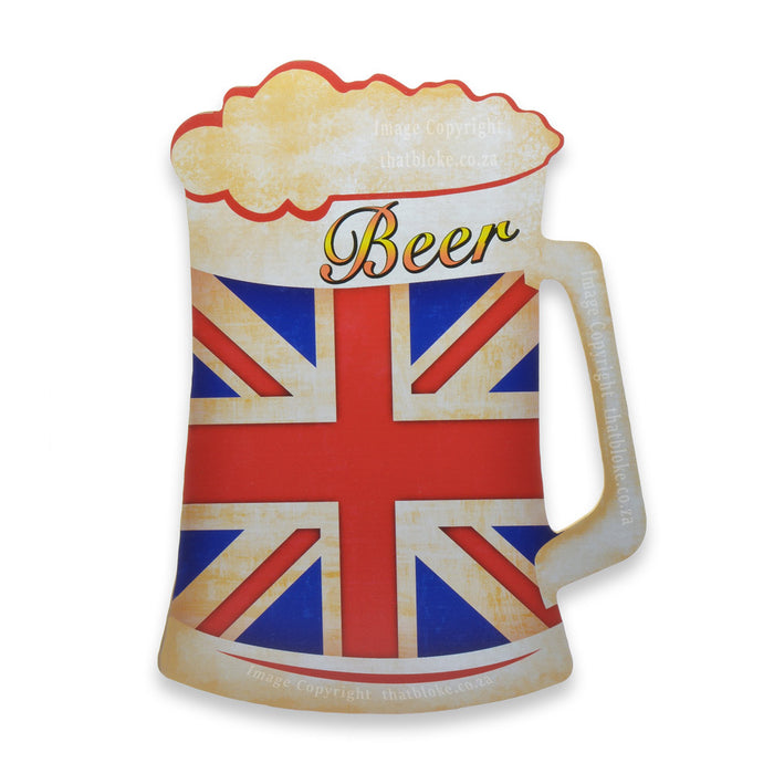 British Union Jack Beer Wood Sign For Man Cave or Bar