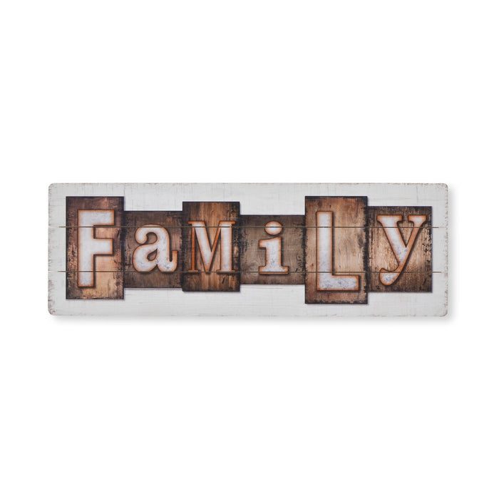 Family Hanging Wood Sign - White