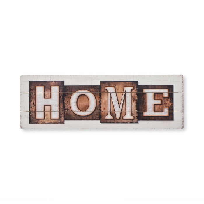 Home Hanging Wood Sign - White