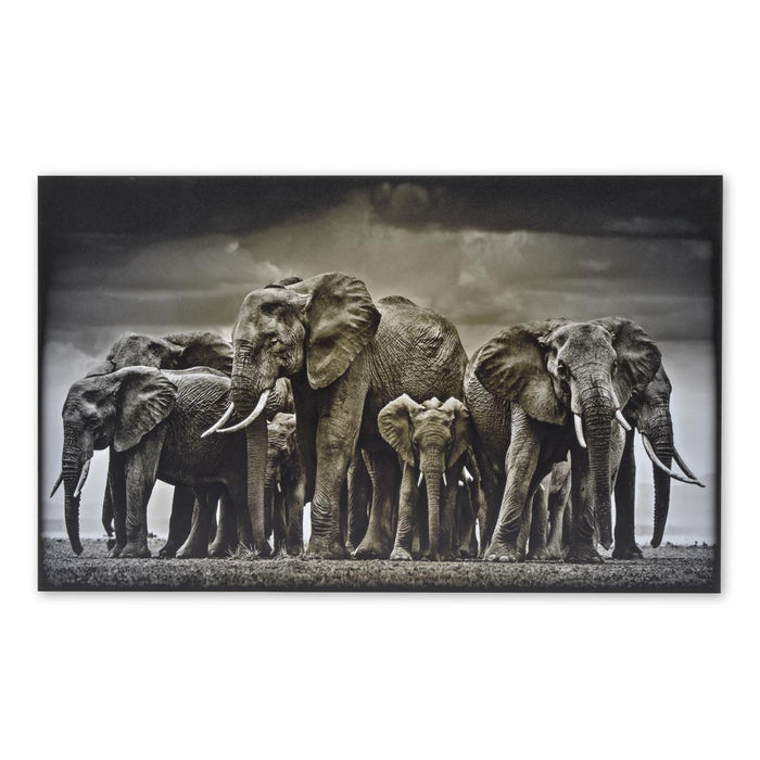 African Elephant Herd Wood Print Animal Signage Black And White Image