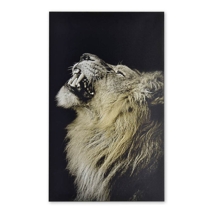African Male Lion Wood Print Animal Signage Decor Black And White Image