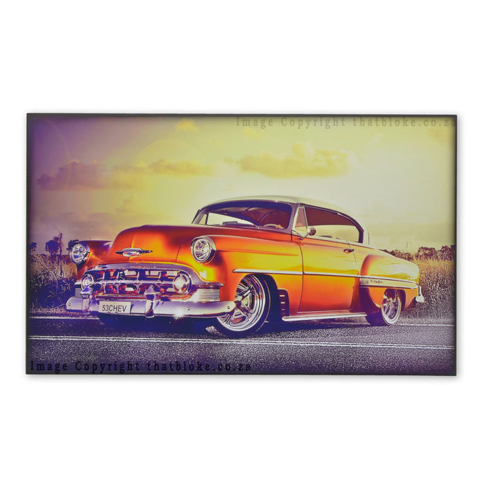 Classic Car 1953 Chevrolet Bel Air Wood Sign Print Metalic Orange For Man Cave