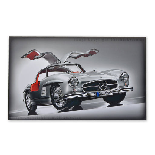 Classic Car Mercedes-Benz 300SL Gullwing Wood Sign Print Metalic Silver
