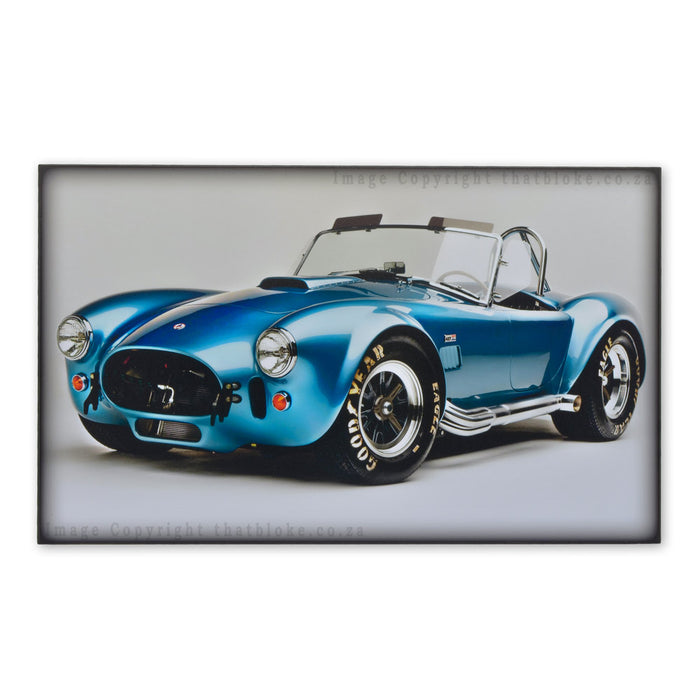 Retro 1965 Shelby Cobra 427 SC Metalic Blue Classic Car Wood Sign