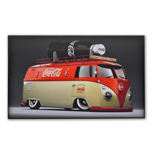 Classic Car Volkswagen VW Kombi Wood Sign Coca-Cola Branded