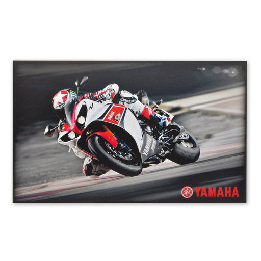 Yamaha R1 Supebike Motorcycle Wood Block Print Red White Image