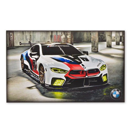 BMW M8 GTE Sports Car Wood Block Print Sign Image