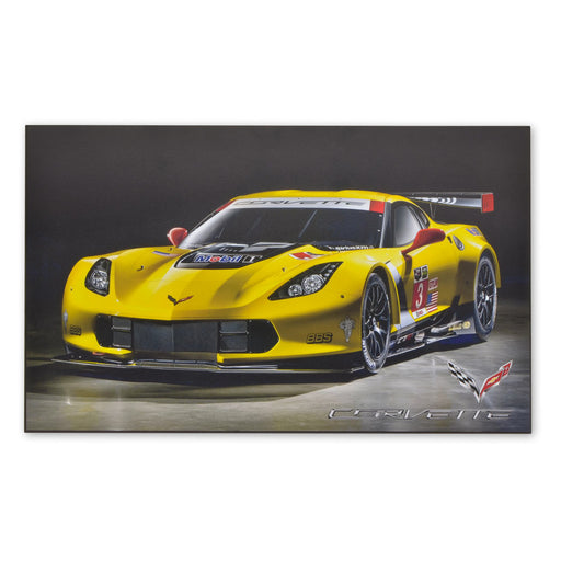 Large Wood Block Print Chevrolet Corvette C7.R Grand Tourer