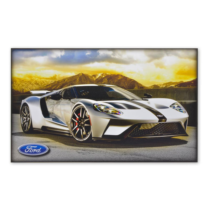 Ford GT Sports Car Silver Wood Block Print Sign Image