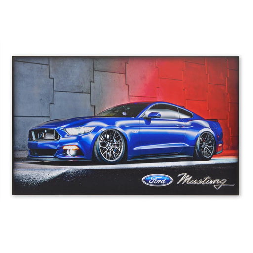 Large Wood Block Print Ford Mustang 5.0 V8 GT Sports Car Blue