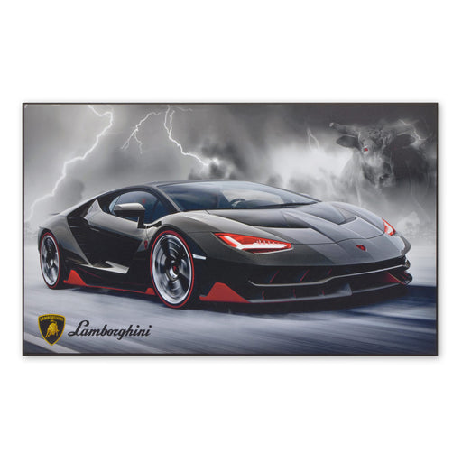 Large Wood Block Print Lamborghini Centenario Black Red