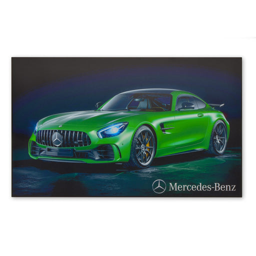 Large Wood Block Print Mercedes-Benz AMG GT V8 Biturbo Green