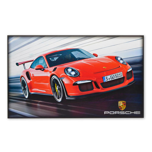 Porsche 911 Turbo S Sports Car Red Wood Block Print Sign Image