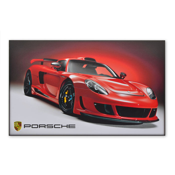Porsche Carrera GT Sports Car Wood Block Print Red Image