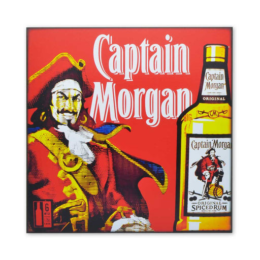 Captain Morgan Rum Wood Print Sign Red Medium sized Image