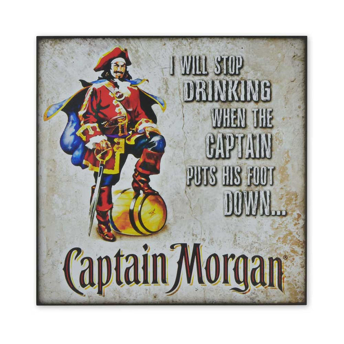 Medium Wood Block Print - Stop Drinking When Captain Morgan Puts Foot Down | That Bloke